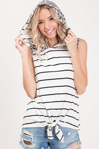 Leopard & Striped Hooded Tank with Front Knot