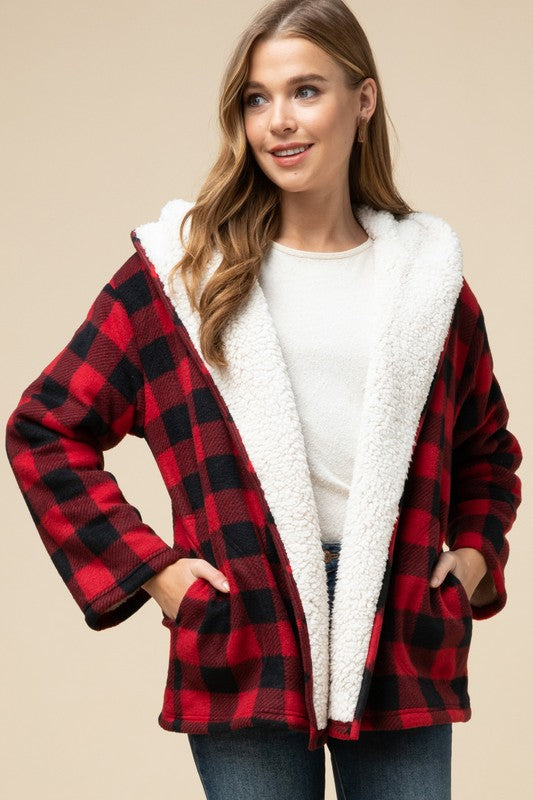 Plaid Hooded Shearling Lined Jacket