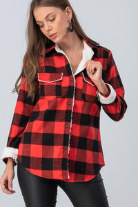 Fleece Lined Red & Black Plaid Flannel