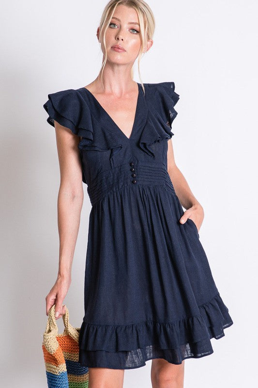 Solid Ruffle Plunge Dress