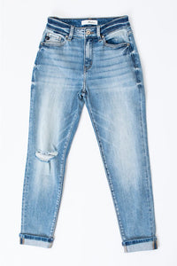 KANCAN Lighter Wash High Rise Denim with Hem Detail