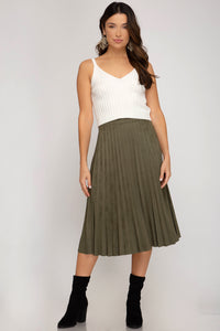 Faux Suede Pleated Midi Skirt