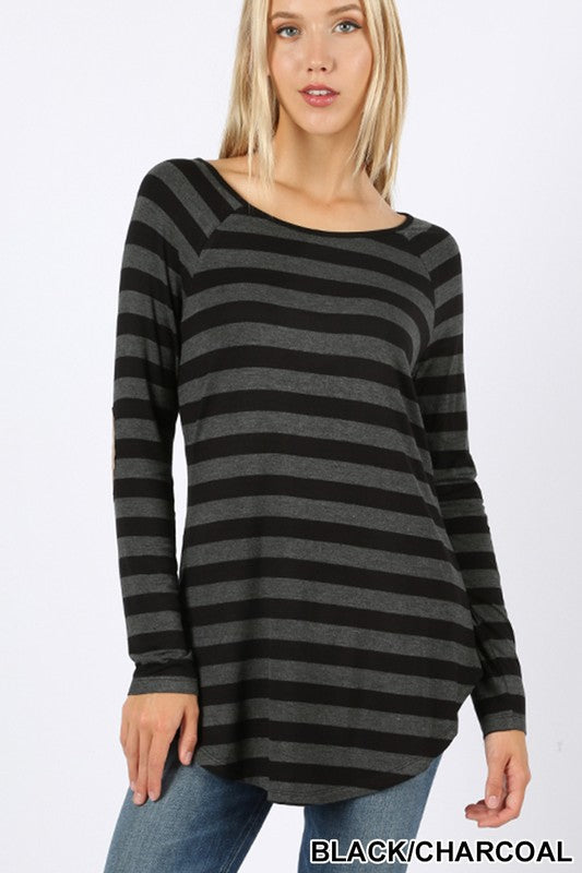 Long Sleeved Striped Top with Elbow Patch