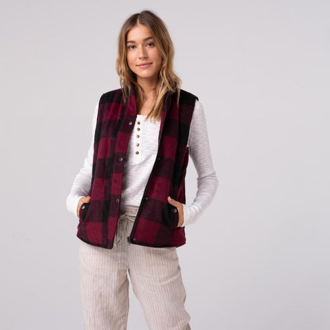 Red & Black Buffalo Plaid Sherpa Lined Vest