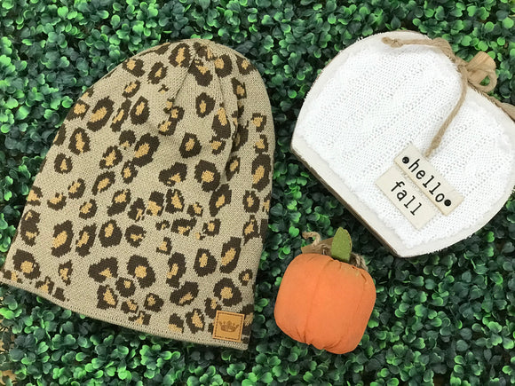 Leopard with Mustard Accent Beanie