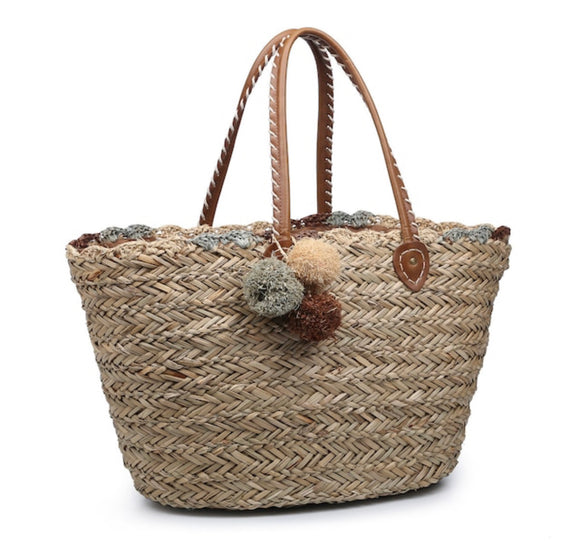 Medium Natural Seagrass Tote - Natural