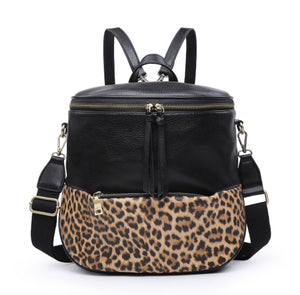 Leopard Detail Backpack W/Optional Crossbody Strap