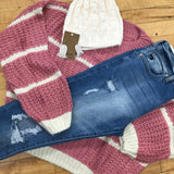 Mauve Stripe Crop Sweater