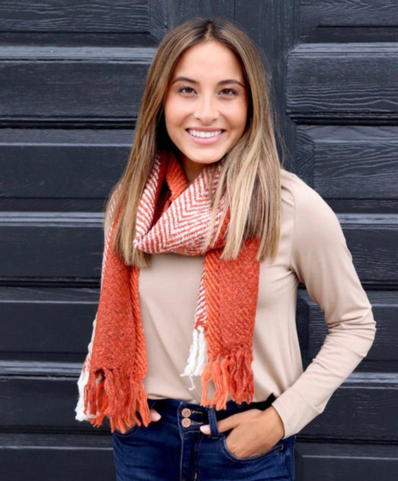 Orange Scarf with Fringe