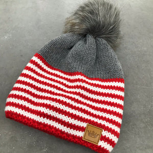 Gray with Red and White Stripe Pom
