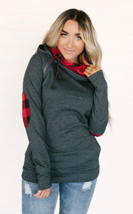 Double Hooded Hoodie Grey and Buffalo Plaid