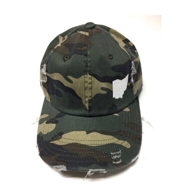 Camo Distressed Baseball Cap
