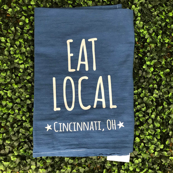 Indigo Eat Local Tea Towel