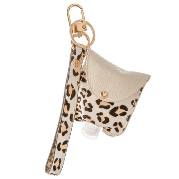 Animal Print Hand Sanitizer Key Chain w/ Wrist Strap