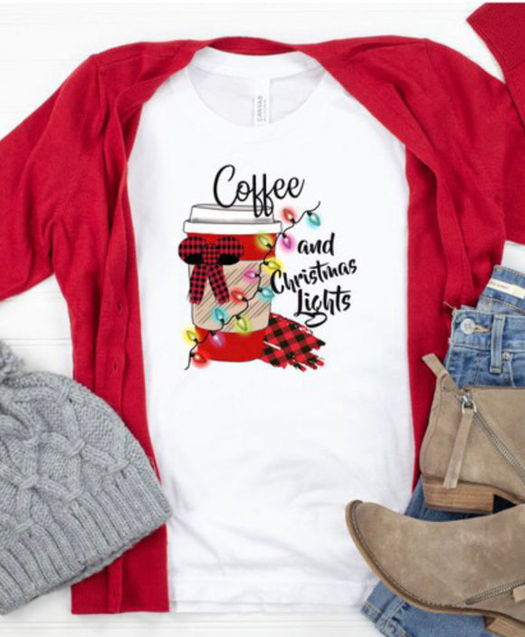 Coffee & Christmas Lights Tee