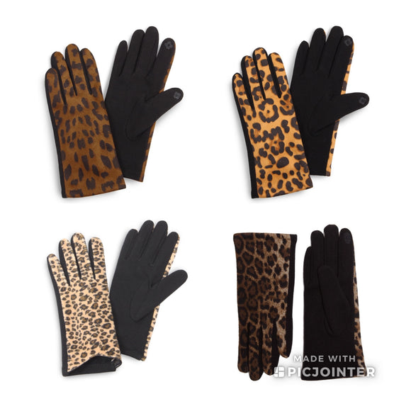 Touch Screen Leopard Gloves