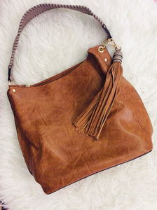 Two Toned Carmel and Grey Purse