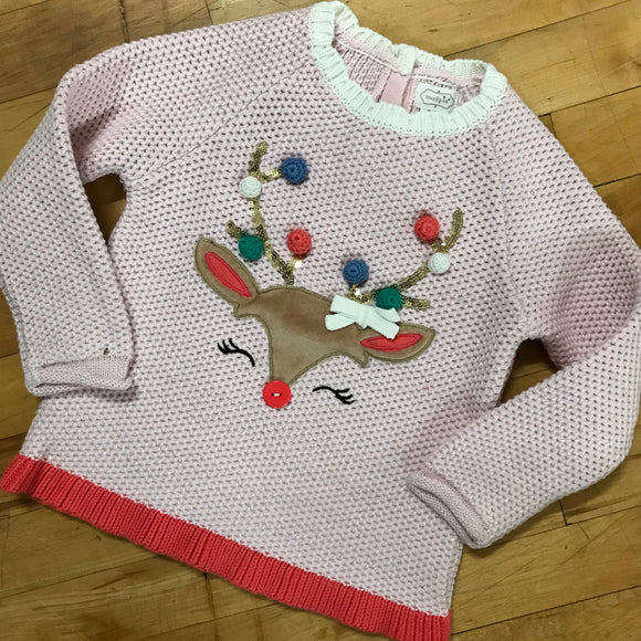 Girl's Pom Pom Reindeer Sweater