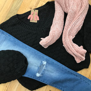City Girl Cable Crop Sweater