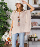 Color Mix Fray Sleeveless Sweater Poncho