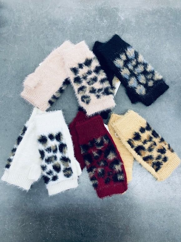Fuzzy Leopard Print Fingerless Gloves