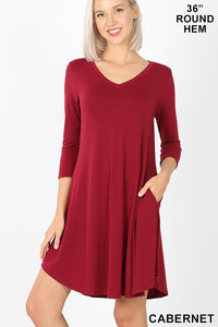 V Neck Swing Dress with Pockets