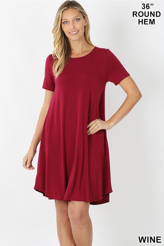 Short Sleeve Round Hem A Line Dress with Pockets