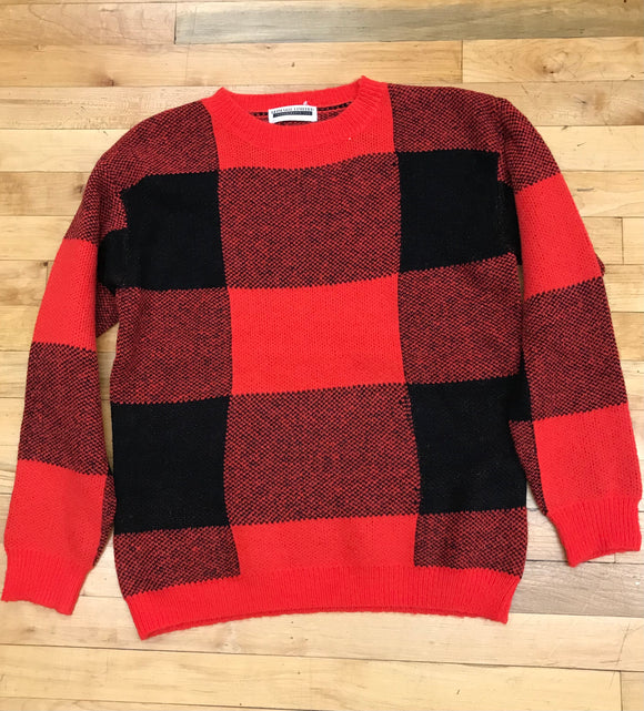 Soft Red Plaid Sweater