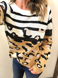 Likin You Leopard Stripe Sweater