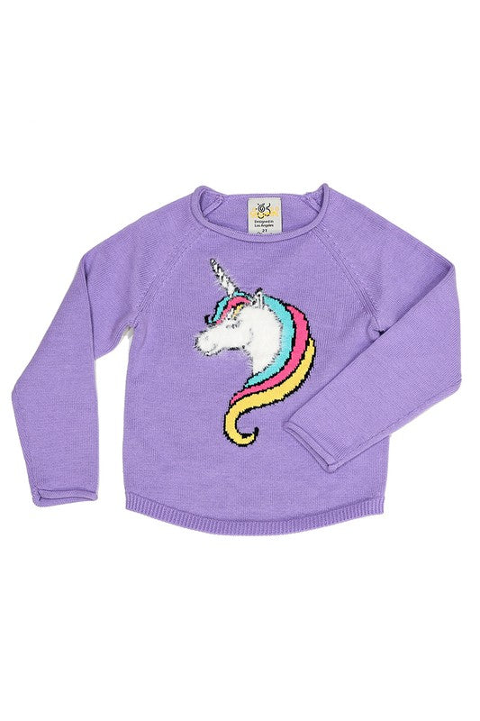 Kids Unicorn Purple Sweater