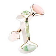 Jade Facial Roller & Rose Quartz Crystal Roller Duo
