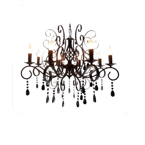 large Crystal led chandeliers Clear crystal black iron Hanging Lights  for Home Restaurant