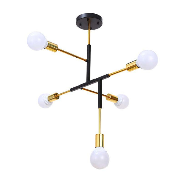 gold plated chandelier for cafe bedroom bar creative multi rod 5 arms E27 led ceiling chandeliers lighting