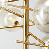 6 Heads Glass Ball Pendant Chandelier Lighting Gold Stainless Steel Rotatable Branch Chandeliers