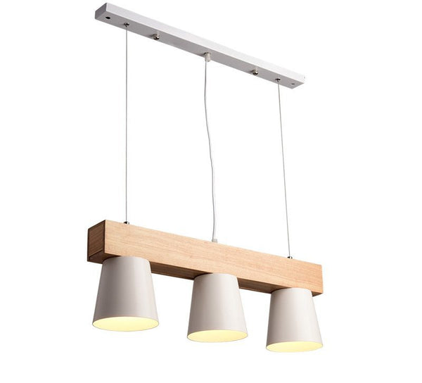 Pendant Lights With Triple Metal Lampshade Modern Wood Hanging Lamp E27 Suspension Light