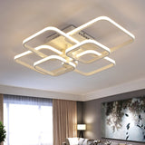 Square Circel Rings Chandelier For Living Room Bedroom Home Modern Led Ceiling Chandelier