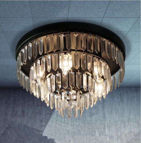 Circular Crystal Ceiling Lamp Luminaire for Living Room bedroom ceiling mounted lighting round led lustre lamp
