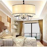 Modern Led Crystal Chandeliers Fabric Shade Cristal Lamp Chandelier Lighting Hanglamp