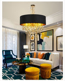 Modern LED Pendant Lights For Living Room Dia 45/60/80cm Black+Gold Fabric Lampshade Indoor lighting