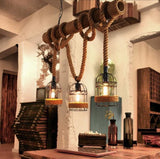 Loft Vintage Hemp Rope Rural Pendant Lights  Bamboo Iron Cage led Pendant Lamps