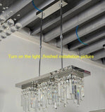 Blue LED crystal rectangle dining room lamp stair pendant light