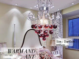 LED burgundy wind red crystal pendant lamp of Europe type crystal bedroom lamp red romantic married lamp