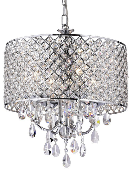 4-Light Crystal Drum Shade Chandelier