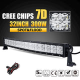 "7D 32"" 300W  Curved LED Light Bar Offroad Combo Led Work Light Bar 4x4 4WD Driving Lights"