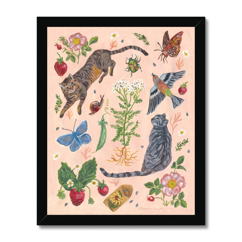 Cat Garden Framed Illustration Print