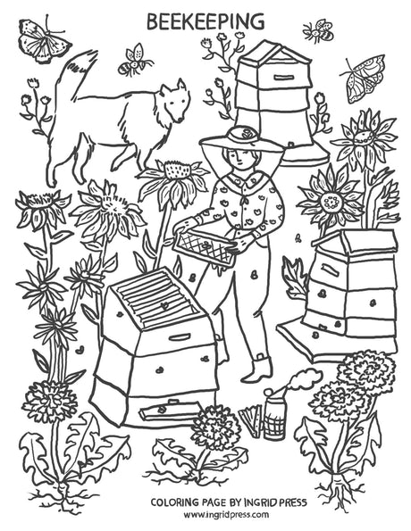 FREE Download & print coloring page | Beekeeping