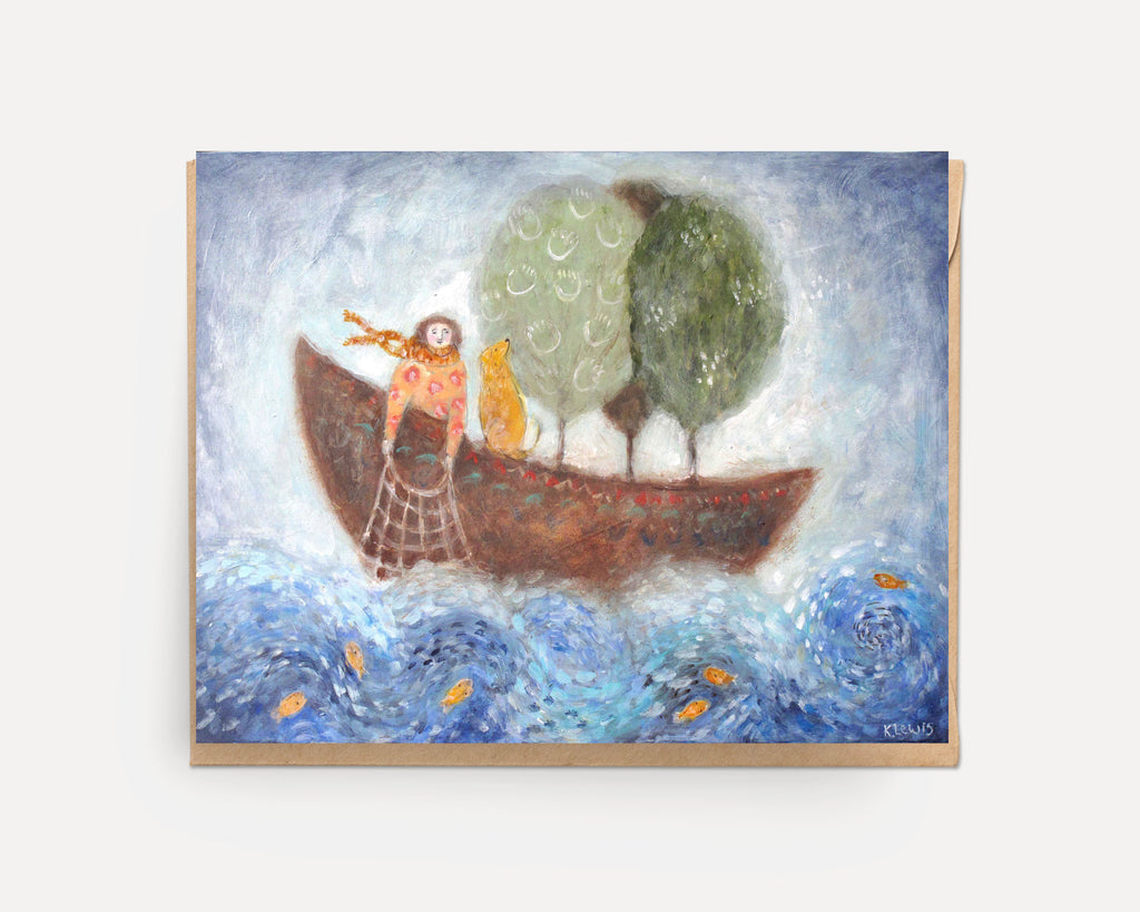 Boating with Trees | Greeting Card U-108