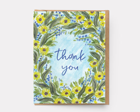 Thank You Daisy Wreath | Greeting Card T-103