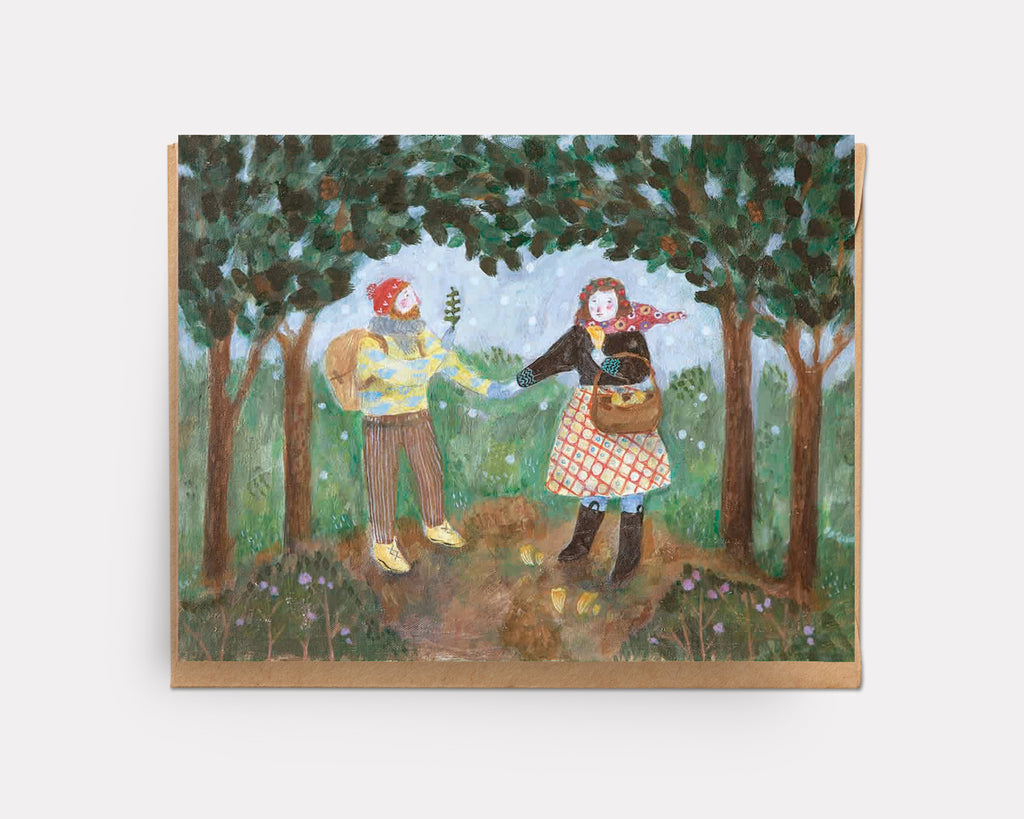 Foraging in a Snowy Wood | Greeting Card U-105