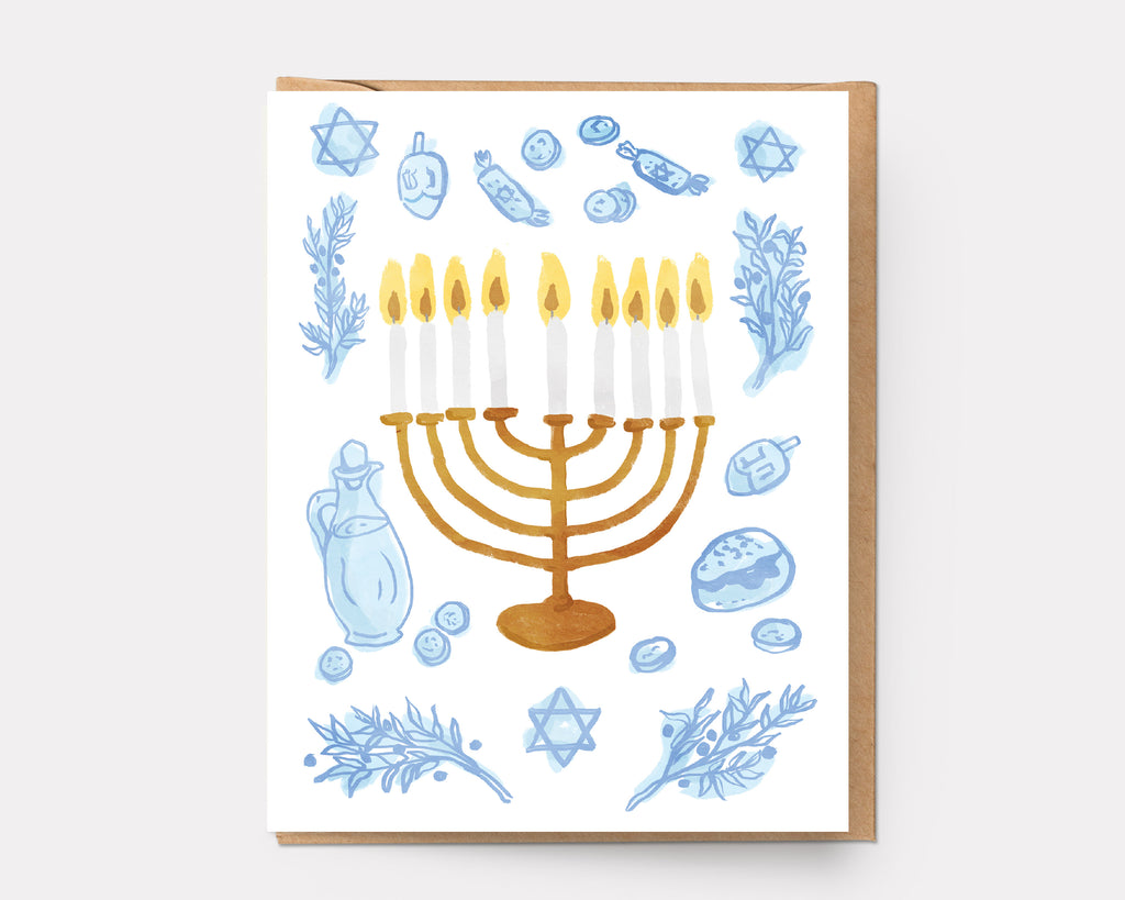 Glowing Menorah - Holiday Greeting Card